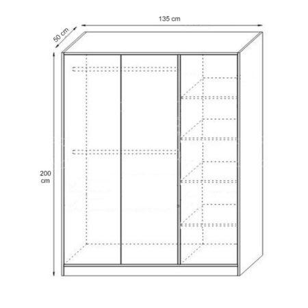 Dulap Sonoma, Bardolino si Wenge, 135x200x50 cm
