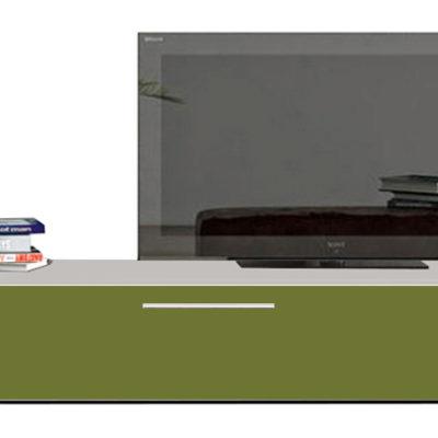 Modul living ,120 cm Alb/ usa MDF Verde lucios