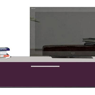 Modul living ,120 cm Alb/ usa MDF Violet lucios