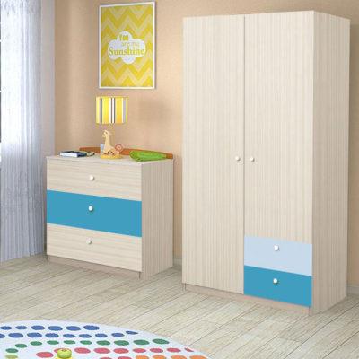 Dulap Alegria 2S, Ferrara/Albastru/Azuriu, 200x100x50 cm