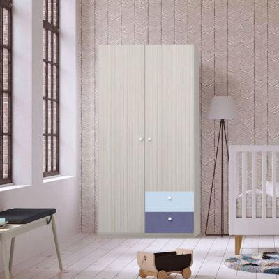 Dulap Alegria 2S, Ferrara/Violet/Azuriu, 200x100x50 cm