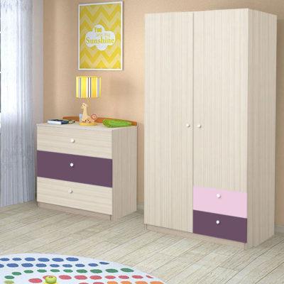 Comoda cu 3 sertare, Stejar Ferrara / Violet