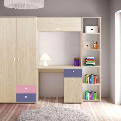 Dulap Alegria 2S, Ferrara/Violet/Roz, 200x100x50 cm