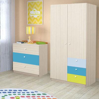 Dulap Alegria 3S, Stejar Ferrara/Albastru, Verde ,Azuriu, 200x100x50 cm