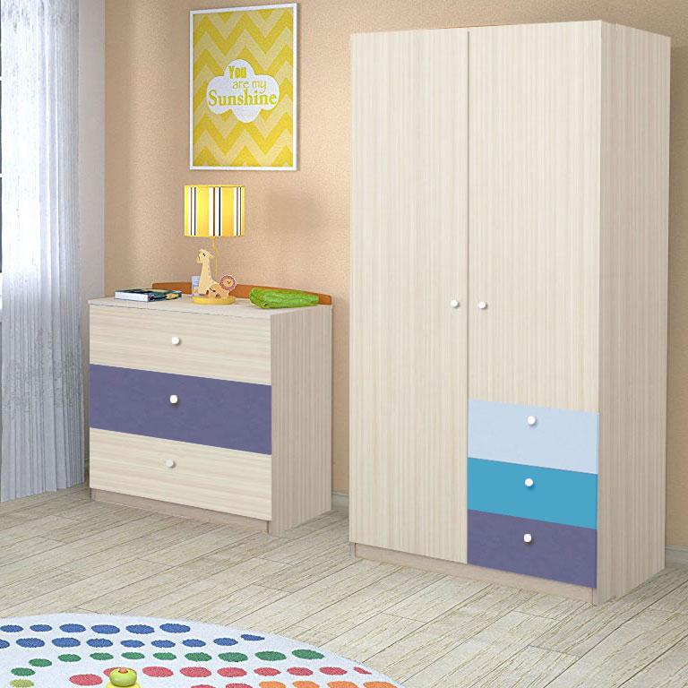 Dulap Alegria 3S, Stejar Ferrara/Indigo, Albastru, Azuriu, 200x100x50 cm