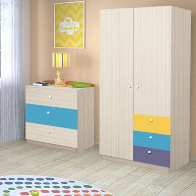 Dulap Alegria 3S, Stejar Ferrara/Indigo, Albastru, Galben, 200x100x50 cm