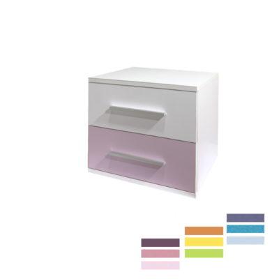 Noptiera Alegria cu 2 sertare, Alb/Color, 50x40x40 cm