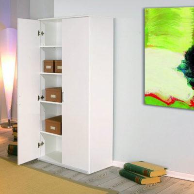 Dulap E4 Alb, cu 4 etajere, 90x200x50 cm